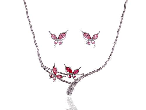 Pink Rose Butterfly Love Duo Necklace Earring Set