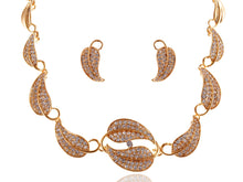 Load image into Gallery viewer, Swarovski Crystal Chain Leaves Autumn Necklace Earring Set