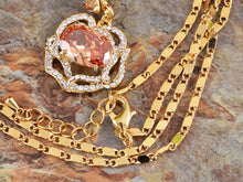 Load image into Gallery viewer, Swarovski Crystal Amber Rose Blossom Outline Necklace Earring Set