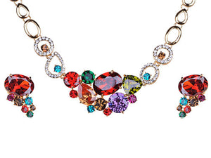 Multicolored Colorful Bib Necklace Stud Earrings Set