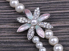 Load image into Gallery viewer, Triple Strand Bridal Winter White Daisy Pearl Necklace