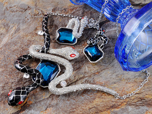 Sapphire Blue Black Silver Enamel Twin Snakes Necklace Earring Set