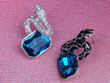 Load image into Gallery viewer, Sapphire Blue Black Silver Enamel Twin Snakes Necklace Earring Set