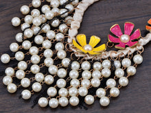 Load image into Gallery viewer, Pearl Bead Dangling Chain Link Color Painted Flower Ribbon Twist Necklace