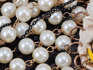 Pearl Bead Dangling Chain Link Color Painted Flower Ribbon Twist Necklace