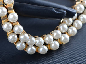 Retro 1960S Choker Pearl Bead Cuff Chain Link Cream Ribbon Necklace