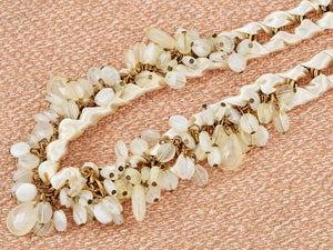 Cream Satin Ribbon Gold Link Milky Glass Bead Choker Necklace