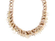 Load image into Gallery viewer, Cream Satin Ribbon Gold Link Milky Glass Bead Choker Necklace