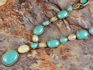Antique Design Turquoise Opal Color Bead Strand Amulet Long Dress Trend Necklace