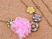 Load image into Gallery viewer, Bohemian Enamel Pastel Pink Yellow Mesh Fabric Flower Strand Necklace