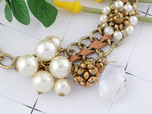 Load image into Gallery viewer, Brown Ribbon Tear Drop Pearl Flower Bead Eclectic Trend Necklace