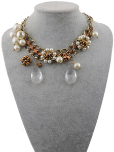 Brown Ribbon Tear Drop Pearl Flower Bead Eclectic Trend Necklace