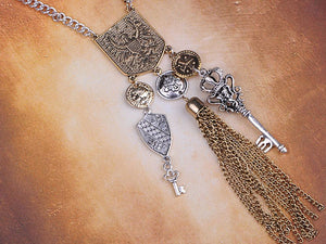 Medieval Heraldic Knight Coat Of Arms Shield Eagle Drop Tassel Necklace