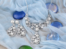Load image into Gallery viewer, Pearl Element Teardrop Dangle Earring Necklace Set