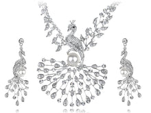 Load image into Gallery viewer, Pearl Peacock Bird Necklace Earrings Set