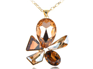 Swarovski Crystal Topaz Element Abstract Jewel Flower Pendant Necklace