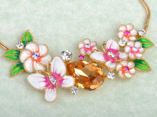 Load image into Gallery viewer, Tropical Gold Element Enamel Flower Earring Necklace Set