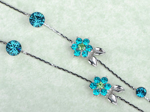Blue Zircon Element Floral Dragonfly Earring Necklace Set