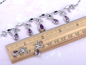 Swarovski Crystal Violet Element Bejeweled Link Floral Earring Necklace Set
