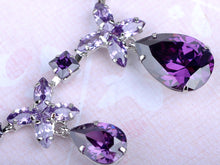 Load image into Gallery viewer, Swarovski Crystal Violet Element Bejeweled Link Floral Earring Necklace Set