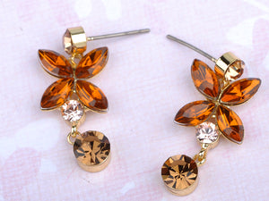 Swarovski Crystal Gold Topaz Colored Flower Necklace Earrings Set