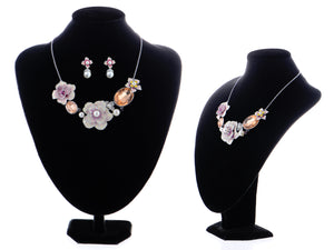 Swarovski Crystal Pearl Topaz Element Enamel Hibiscus Earring Necklace Set