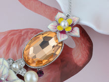 Load image into Gallery viewer, Swarovski Crystal Pearl Topaz Element Enamel Hibiscus Earring Necklace Set