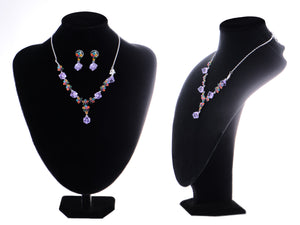 Swarovski Crystal Multi Color Element jeweled Box Flower Earring Necklace Set