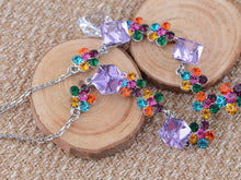 Load image into Gallery viewer, Swarovski Crystal Multi Color Element jeweled Box Flower Earring Necklace Set