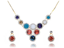 Load image into Gallery viewer, Swarovski Crystal Intricate Fire Opal Element Tiered Drop Earring Necklace Set