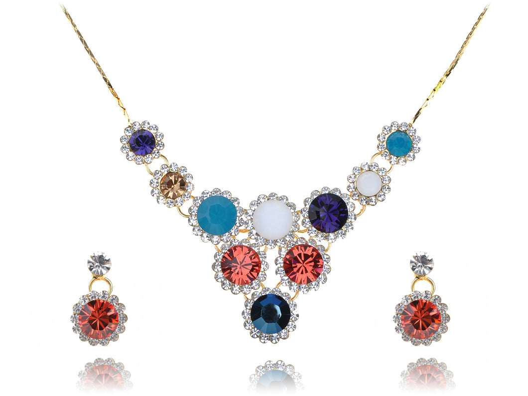Swarovski Crystal Intricate Fire Opal Element Tiered Drop Earring Necklace Set