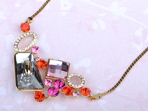 Swarovski Crystal Rose Element Abstract Jewel Earring Necklace Set