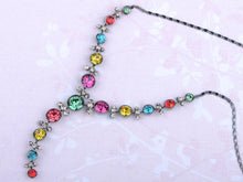 Load image into Gallery viewer, Swarovski Crystal Gun Multicolored Circle Y Shape Necklace Earrings Set