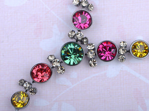 Swarovski Crystal Gun Multicolored Circle Y Shape Necklace Earrings Set