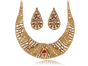 Swarovski Crystal Topaz Element Indian Earring Necklace Set