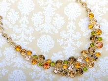Load image into Gallery viewer, Swarovski Crystal Multicolored Colorful Bib Necklace Stud Earring Set
