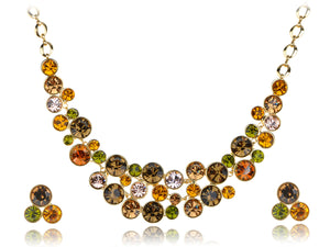 Swarovski Crystal Multicolored Colorful Bib Necklace Stud Earring Set