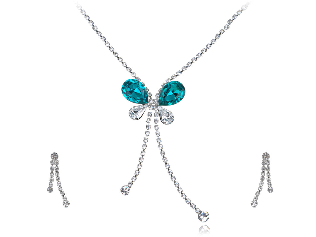 Indicolite Element Dangle Dragonfly Earring Necklace Set
