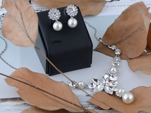 Swarovski Crystal Pearlescent Element Single Flower Earring Necklace Set