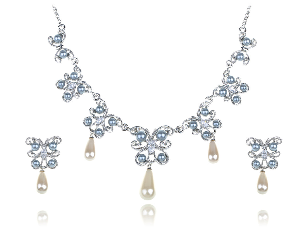Pearlescent Element Butterfly Linked Earring Necklace Set