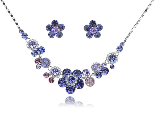 Silver Purple Floral Flower Necklace Earrings Set