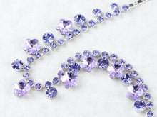 Load image into Gallery viewer, Swarovski Crystal Purple Hibiscus Flower Drop Earring Necklace Statement Jewelry Set