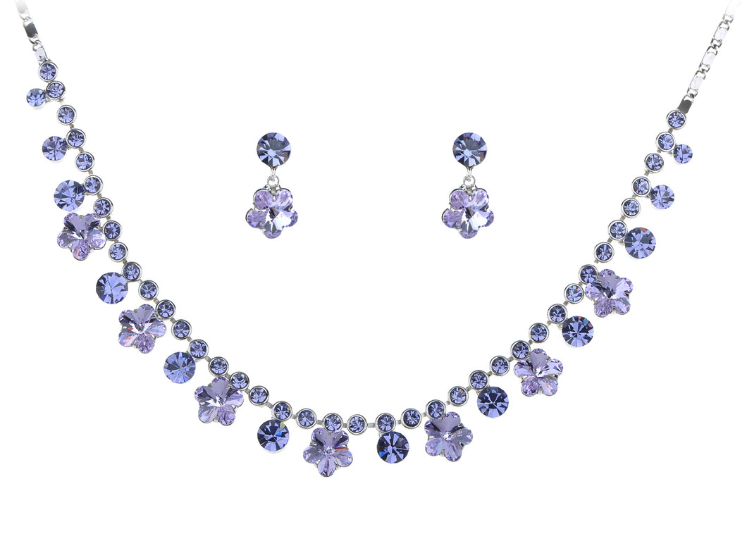 Swarovski Crystal Purple Hibiscus Flower Drop Earring Necklace Statement Jewelry Set