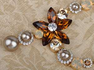 Topaz Element Pearlescent Floral Earring Necklace Set