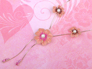 Swarovski Crystal Simply Pink Element Enamel Daisy Earring Necklace Set