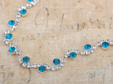 Load image into Gallery viewer, Swarovski Crystal Aqua Indicolite Blueberry Vineyard Earring Necklace Set