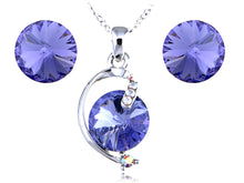 Load image into Gallery viewer, Swarovski Crystal Violet Sapphire Perfect Circles Element Earring Necklace Set