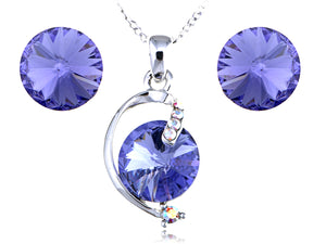 Swarovski Crystal Violet Sapphire Perfect Circles Element Earring Necklace Set