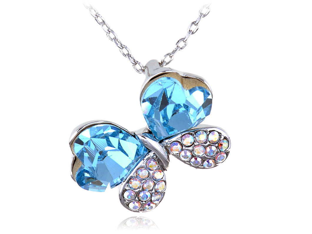 Light Aquamarine Double Love Ab Butterfly Element Necklace