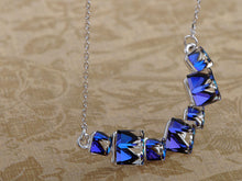 Load image into Gallery viewer, Capri Blue Two Cubes Hanging Chain Element Necklace